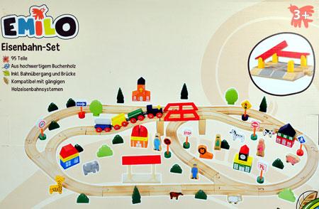 Riesiges Holzeisenbahn-Set Emilo 95 Teile!!!