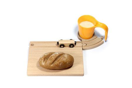 Eisenbahn Frühstücksset mit gelber Tasse