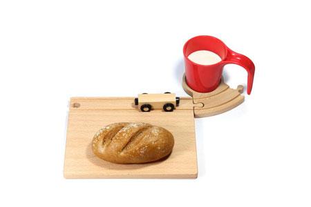 Eisenbahn Frühstücksset mit roter Tasse