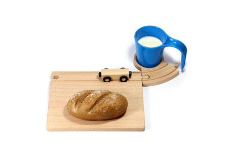 Eisenbahn Frühstücksset mit blauer Tasse