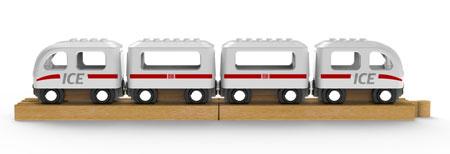 """Noppi Zug """"ICE"""" weiß mit 4 Wagen"""