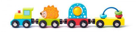 Spielzeugzug mit Igel