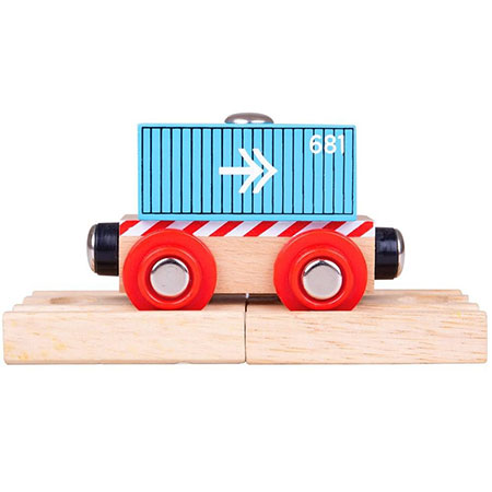 Blauer Container-Waggon