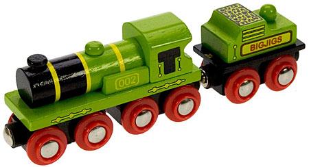 Große grüne Lok mit Kohle-Tender