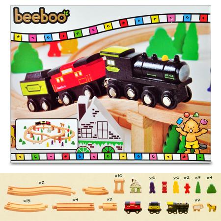 Großes Holzeisenbahn-Starter Set mit 60 Teilen