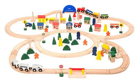 102-teiliges Premium Holzeisenbahn-Set