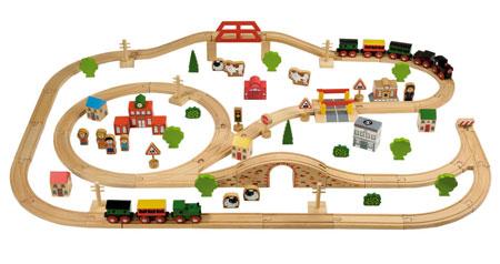 Riesiges 100-teiliges Holzeisenbahn-Set