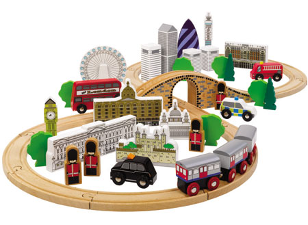 """50-teiliges Holzeisenbahn-Set """"London"""""""