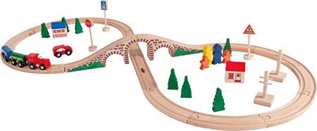 40-tlg. Holzeisenbahn-Set