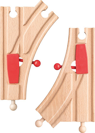 """Weichen in """"K""""-Form mit Weichenumsteller (2 Stück)"""