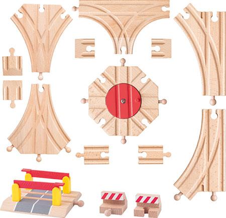 15-tlg. Holzeisenbahn Erweiterungs-Set