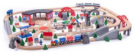 Holzeisenbahn-Set Industriegebiet mit 2 Kränen