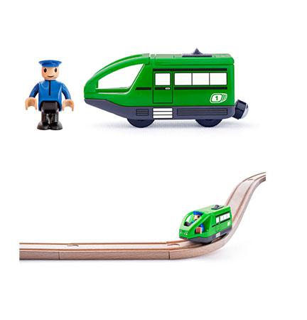 Grüne Metro-Bahn mit Lokführer-Spielfigur (batteriebetrieben)