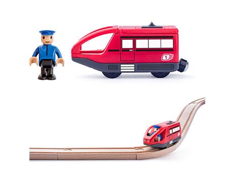Rote Metro-Bahn mit Lokführer-Spielfigur (batteriebetrieben)