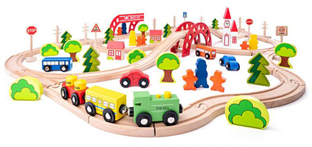 Großes Eisenbahn-Set mit Brücke und Haltestelle
